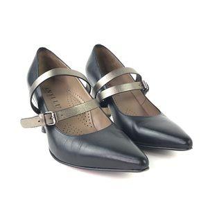 Anyi Lu Black Leather Heels 36.5 Metallic Straps